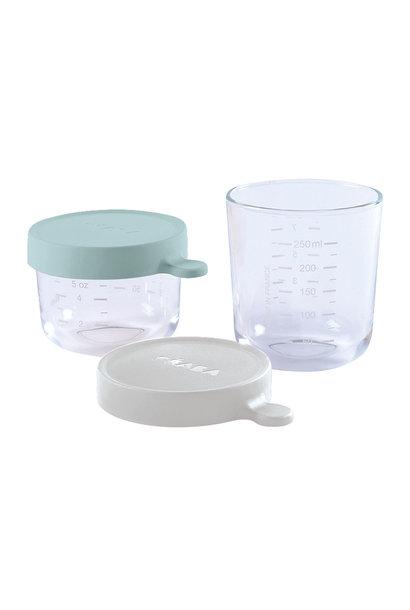 Set van 2 glazen bewaarpotjes 150ml airy green / 250ml mist