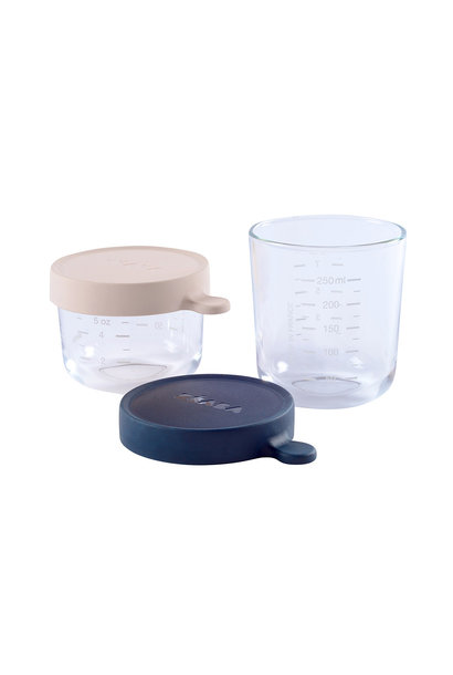 Set van 2 glazen bewaarpotjes 150ml pink / 250ml dark blue