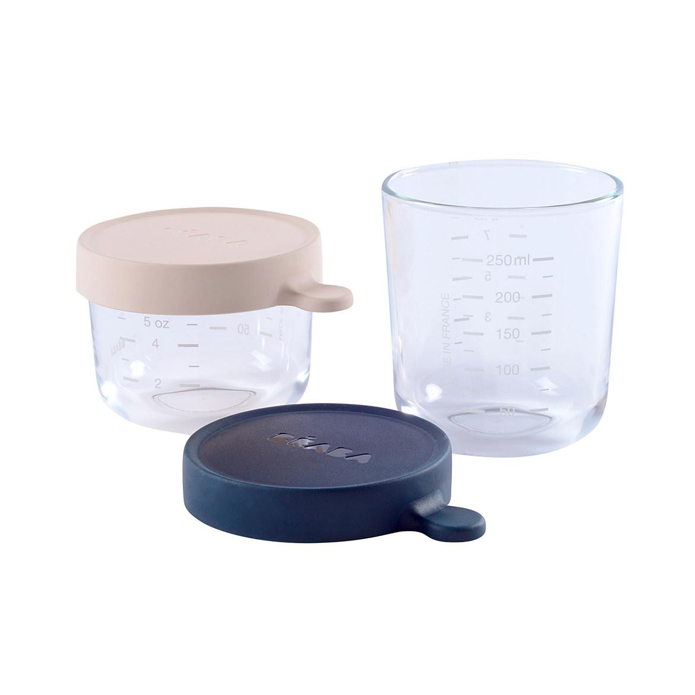 Set van 2 glazen bewaarpotjes 150ml pink / 250ml dark blue-1