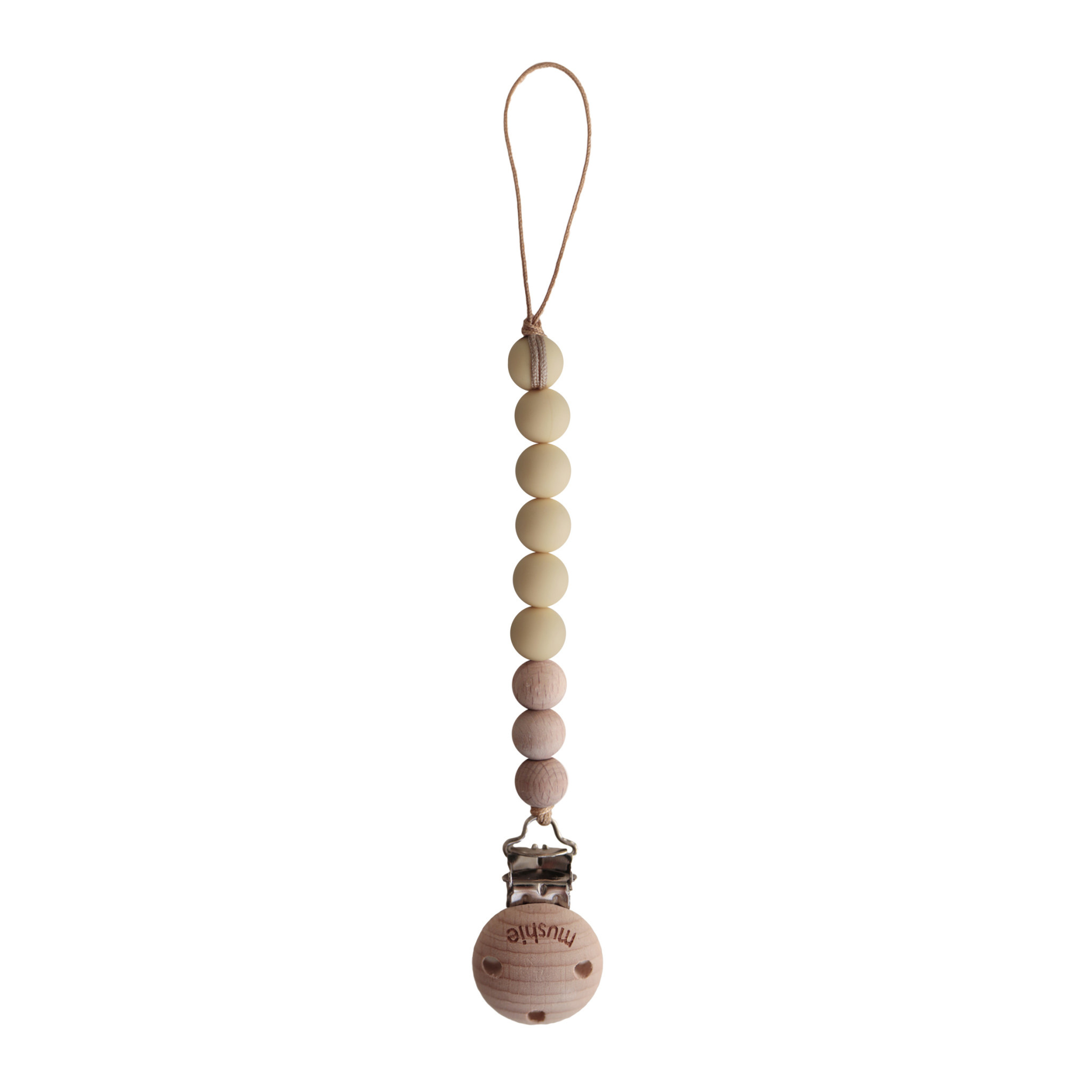 Cleo fopspeenketting mutted yellow/wood-1