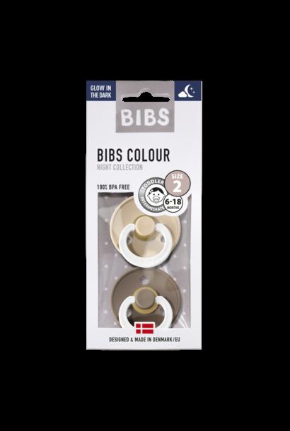BIBS fopspeen 6-18M blister glow in the dark vanilla/dark oak