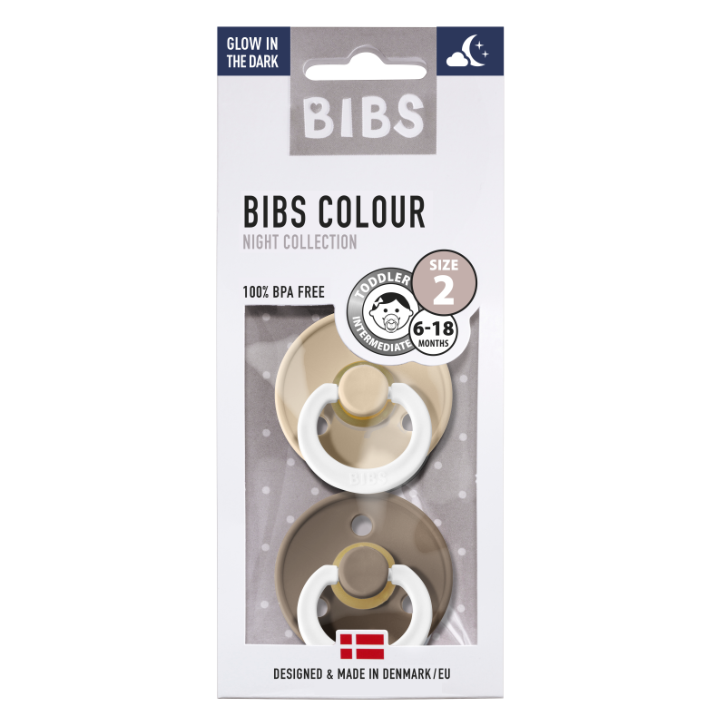 BIBS fopspeen 6-18M blister glow in the dark vanilla/dark oak-1