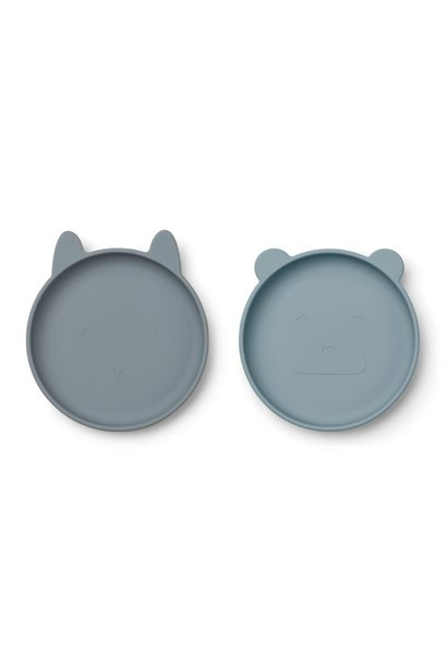 Olivia plate blue mix - 2 pack