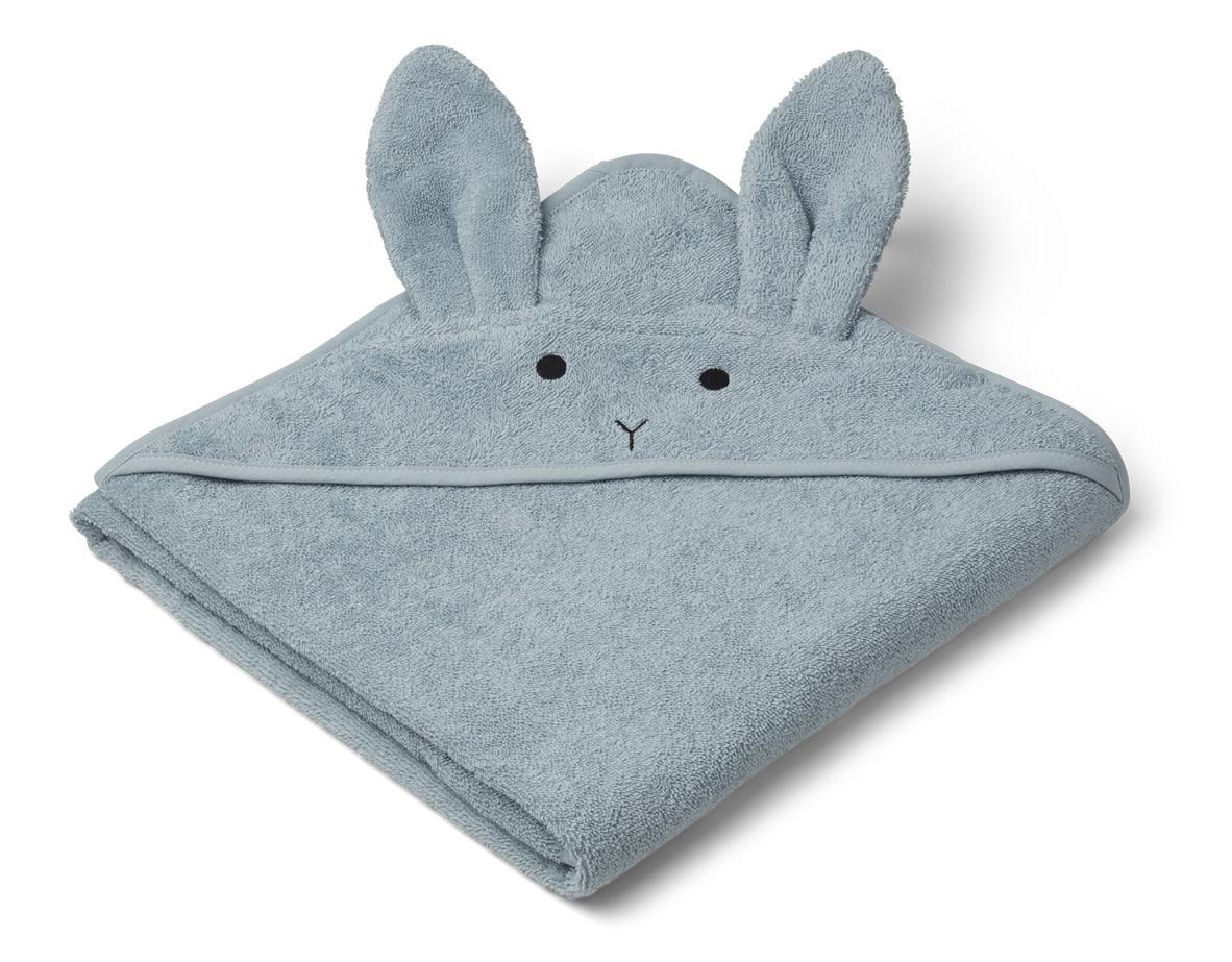 Augusta hooded towel rabbit sea blue-1