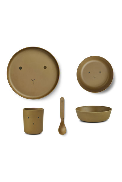 Bamboo tableware rabbit olive green