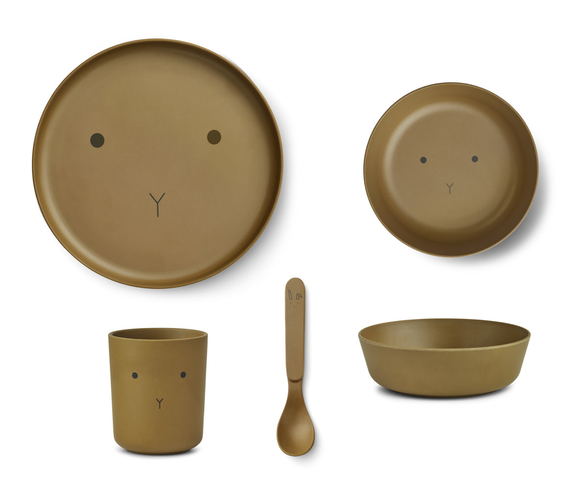 Bamboo tableware rabbit olive green-1