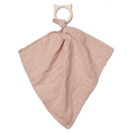 Dines teether cuddle cloth little dot rose-1
