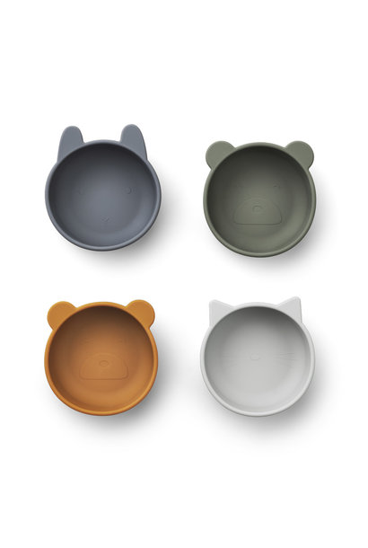 Iggy silicone bowls blue mix - 4 pack
