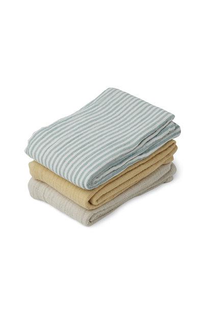 Line muslin cloth sea blue stripe mix - 3 pack