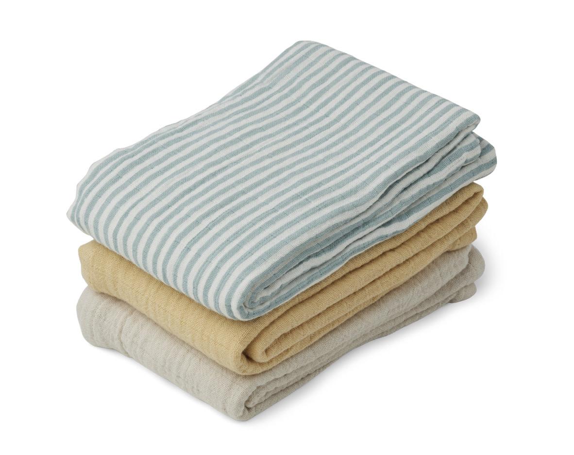 Line muslin cloth sea blue stripe mix - 3 pack-1