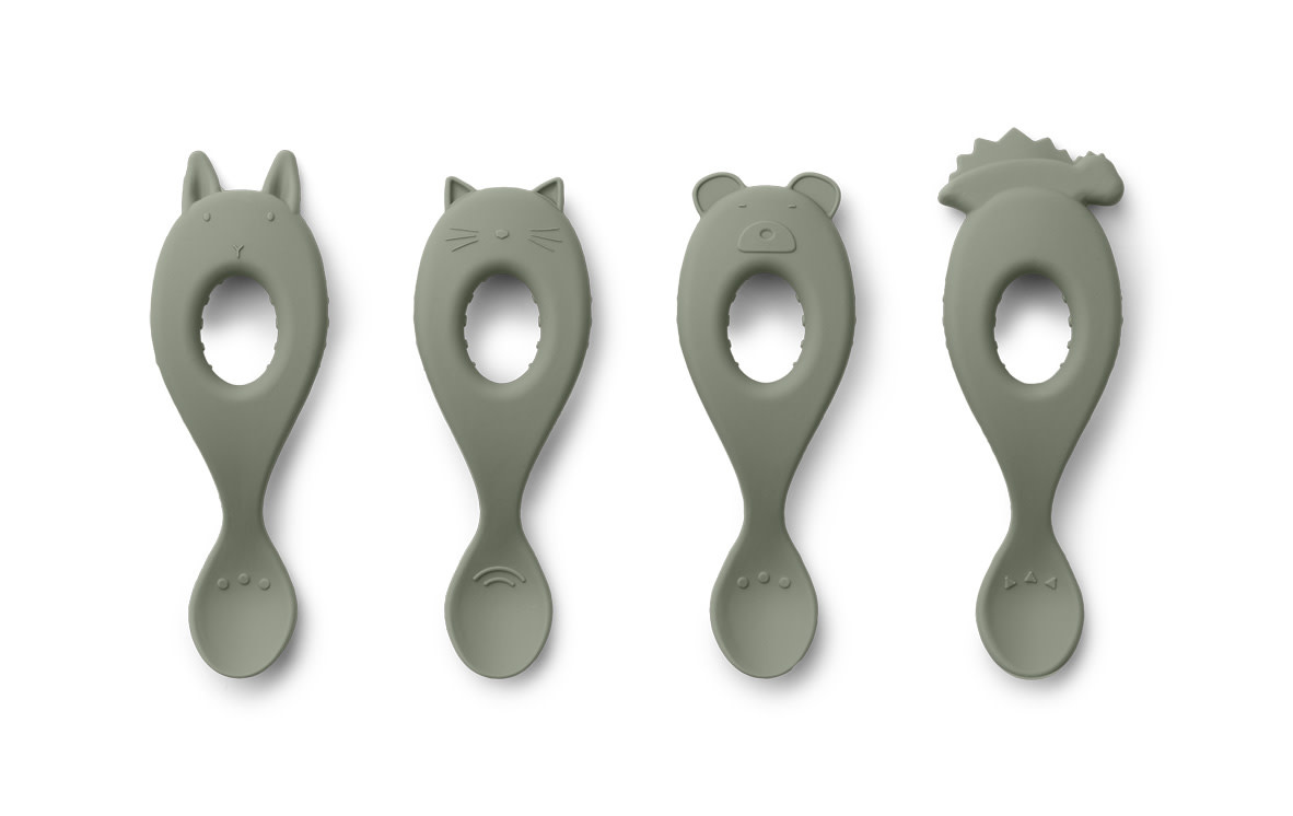 Liva silicone spoon faune green - 4 pack-1