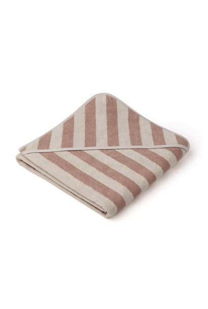Louie hooded towel stripe rose