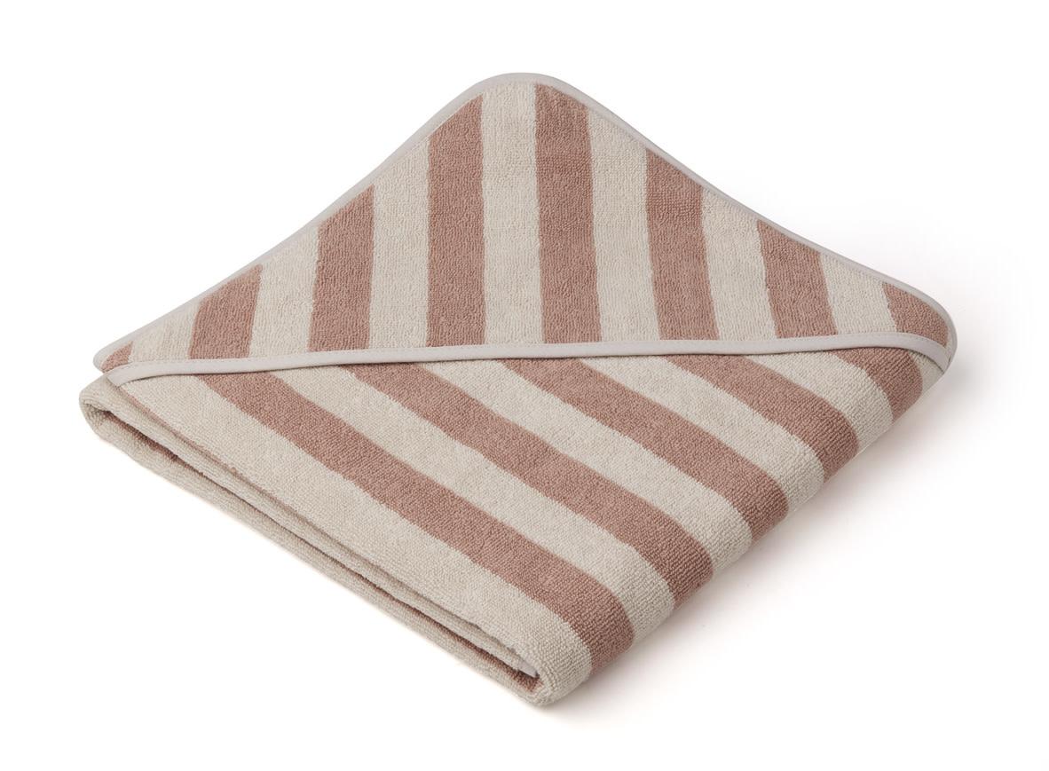 Louie hooded towel stripe rose-1