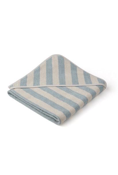 Louie hooded towel stripe sea blue