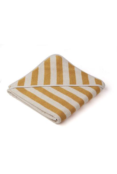 Louie hooded towel stripe yellow mellow