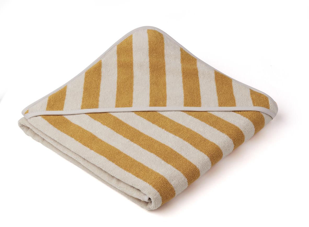 Louie hooded towel stripe yellow mellow-1