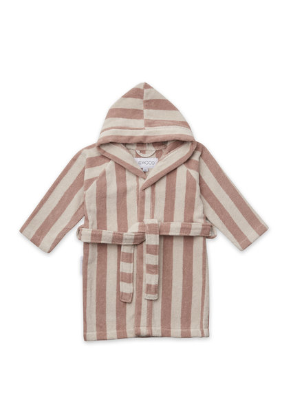 Reggie bathrobe stripe rose 3-4Y