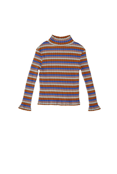 Striped turtle neck rib tshirt blue