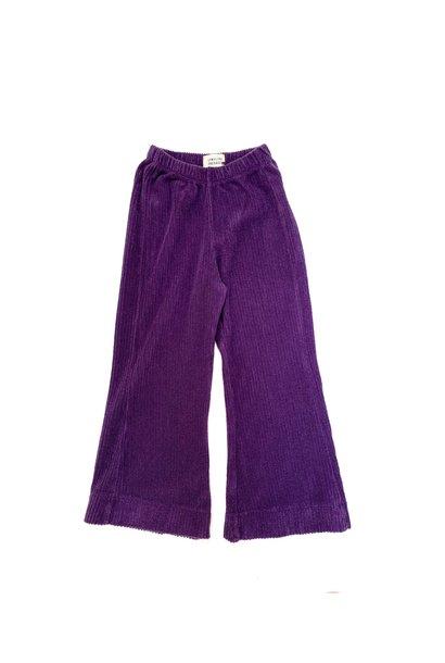 Flared baby pants purple velvet
