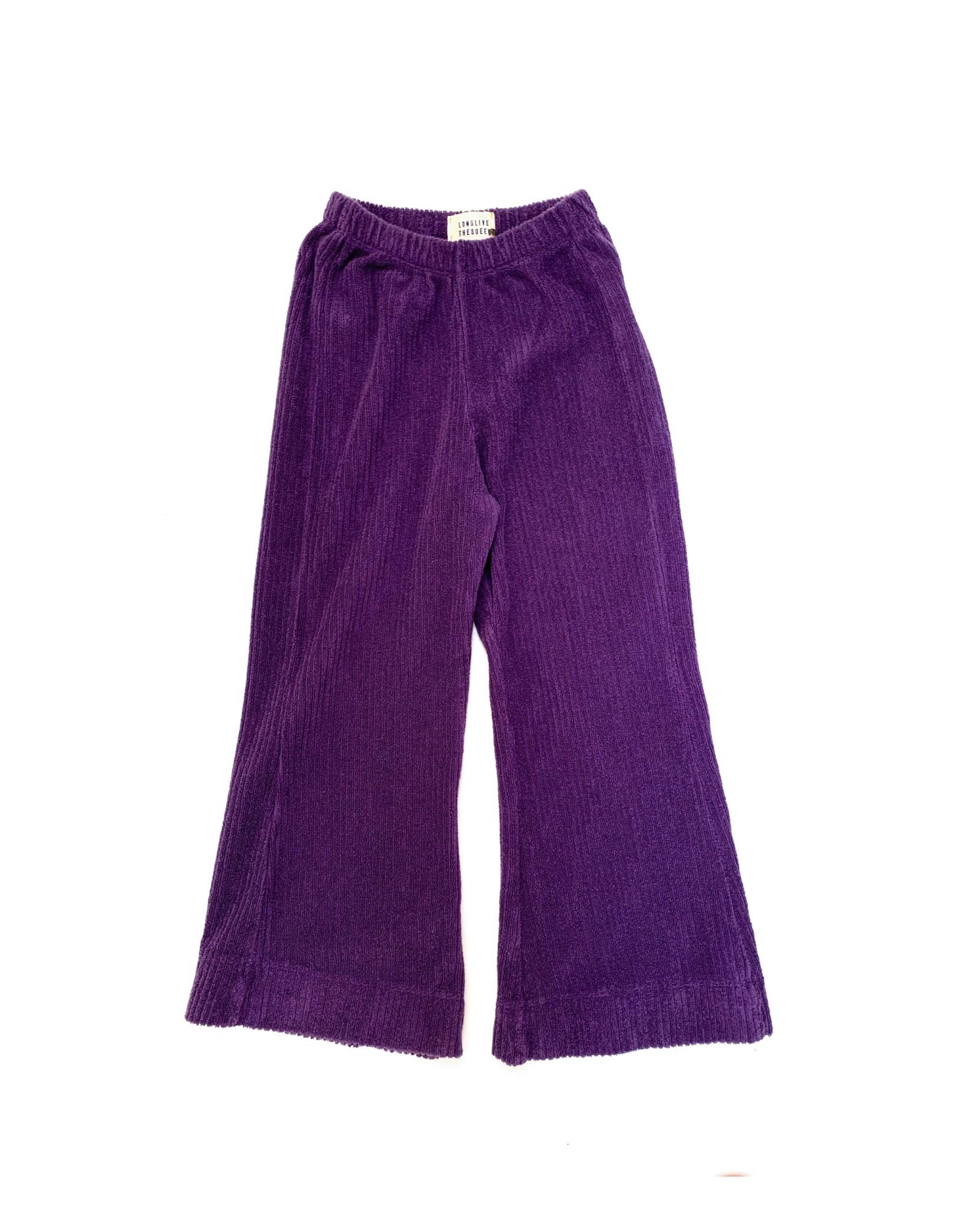 Flared baby pants purple velvet-1