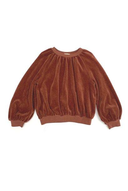 Velvet baby sweater rootbeer