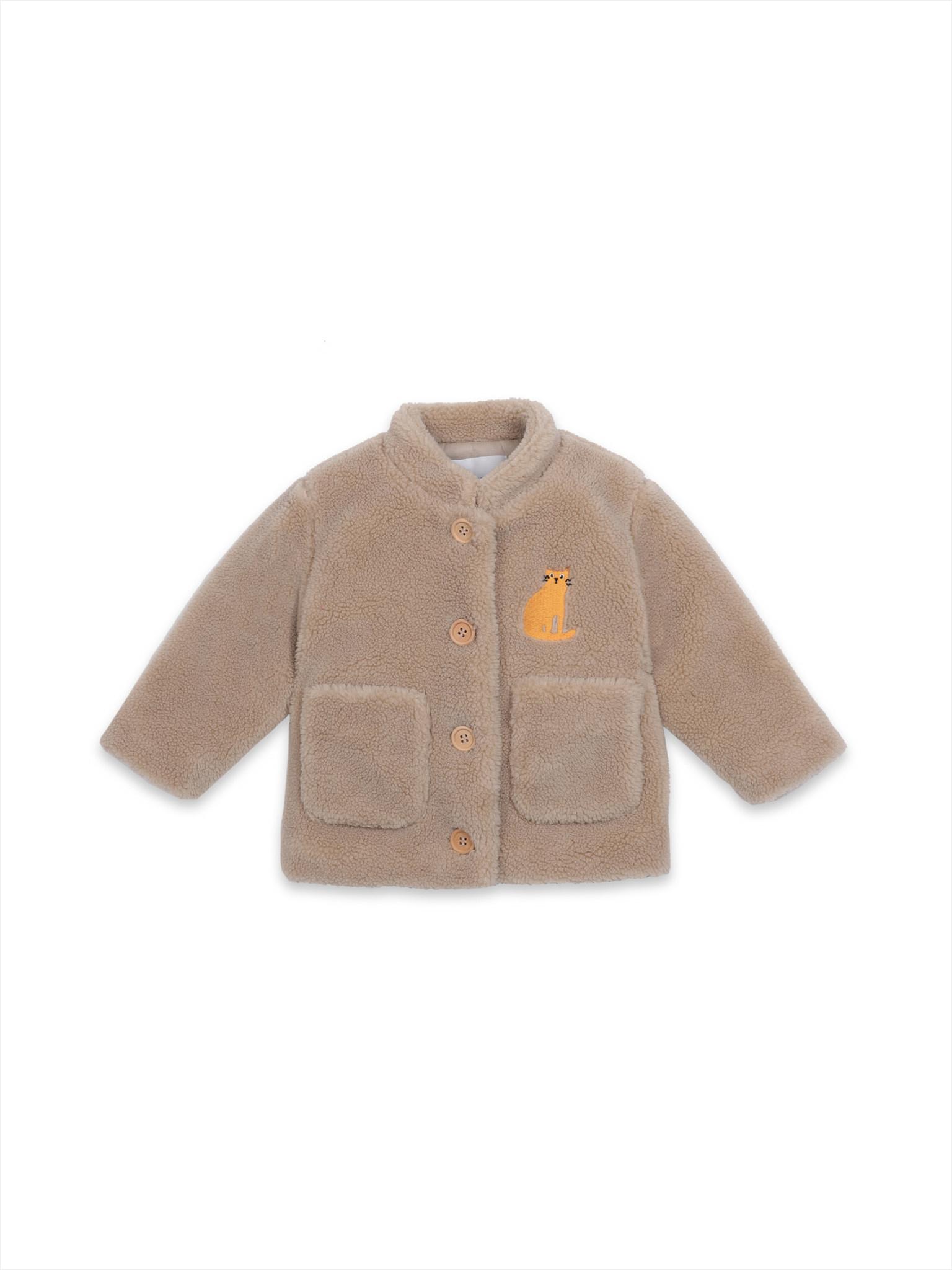 Cat patch sheepskin jacket-1