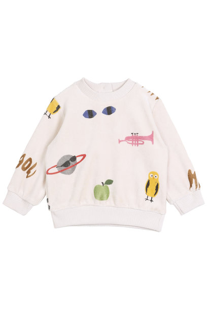 Sweatshirt ecru multi