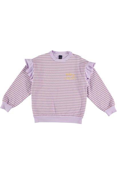 Sweatshirt frilles stripes mallow