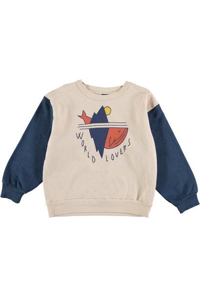 Sweatshirt world lovers navy kids