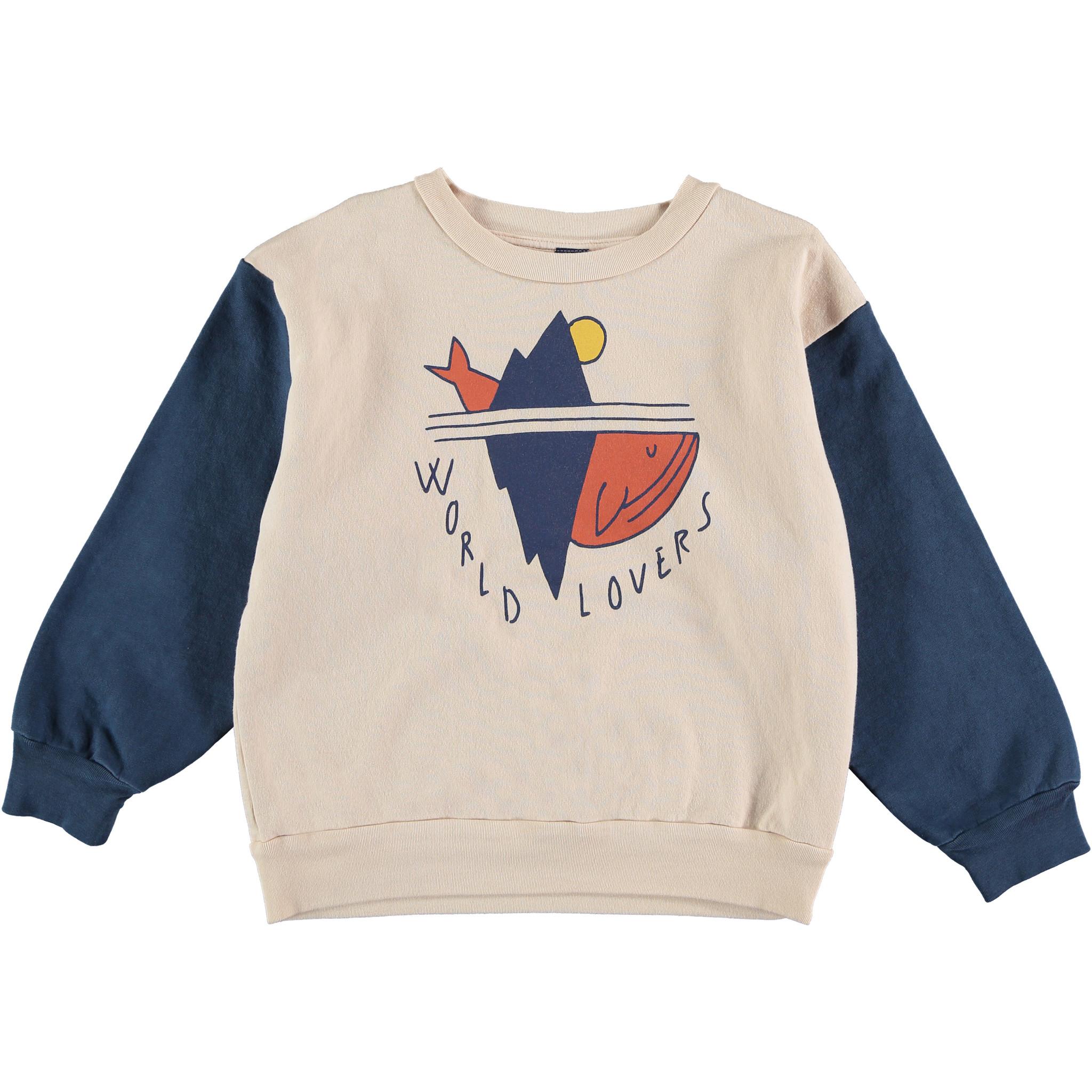 Sweatshirt world lovers navy kids-1