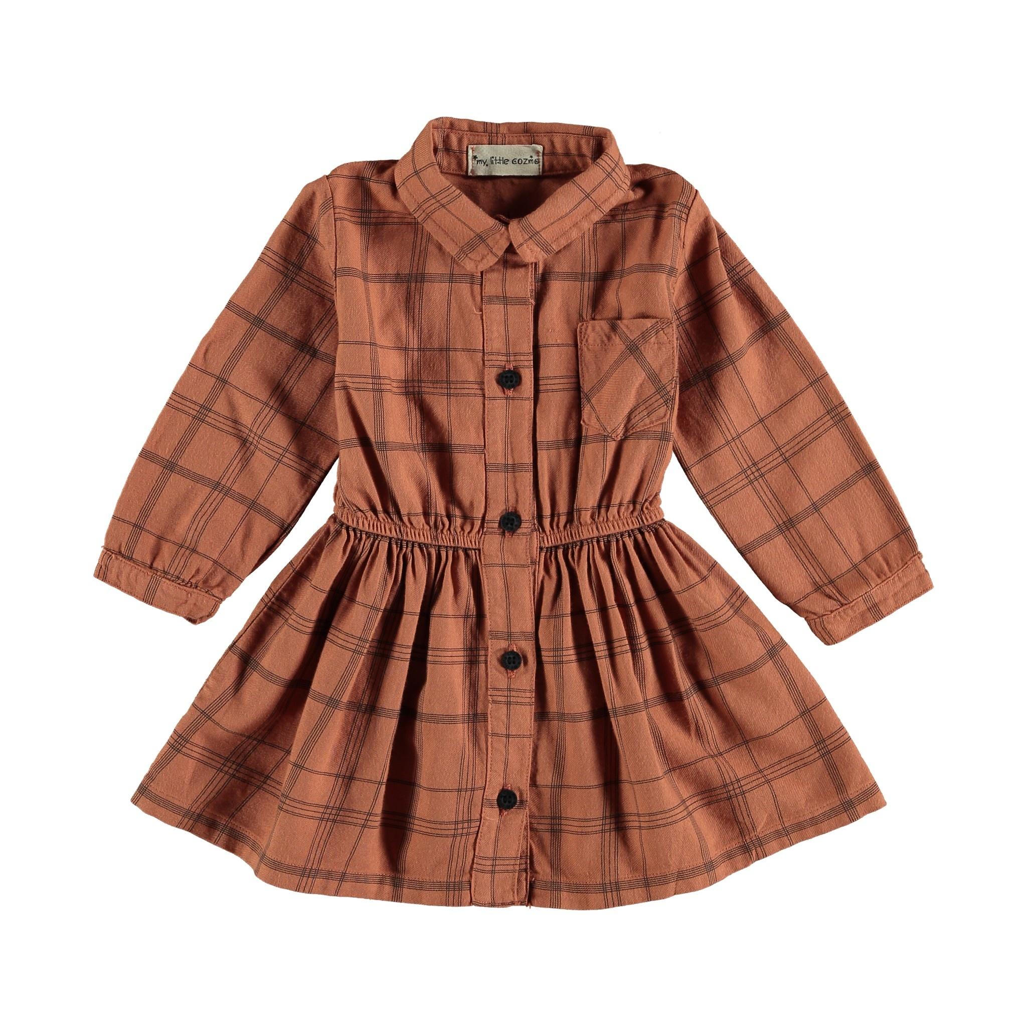 Dress baby tartan rust-1