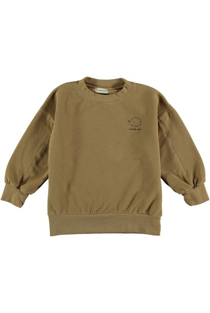 Sweatshirt kids organic fleece camel