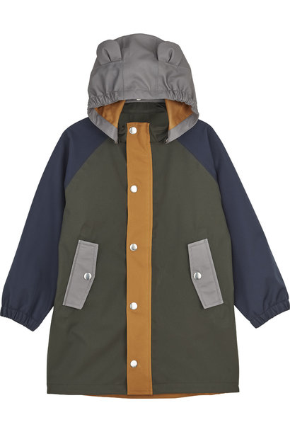 Blake long raincoat hunter green multi mix kids
