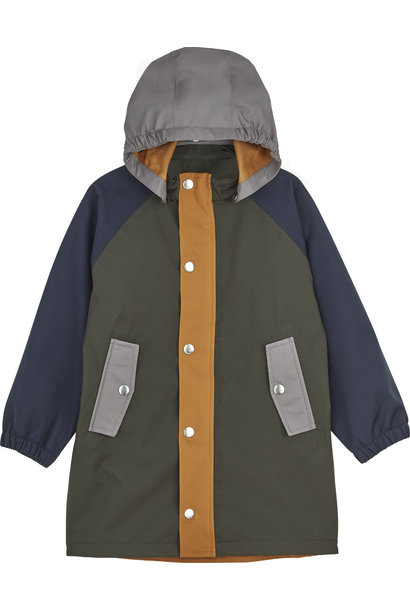 Spencer long raincoat hunter green multi mix