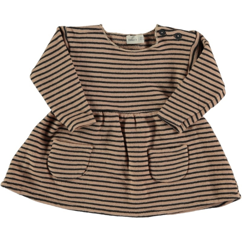 Ant striped warm fleece dress nude-1