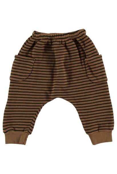 Wood striped warm fleece pants with pockets caramel