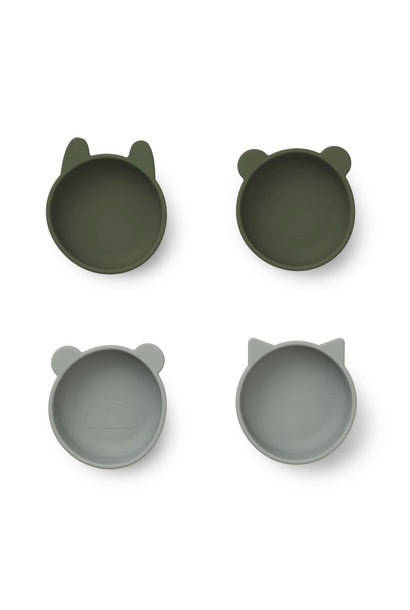 Iggy silicone bowls hunter green mix - 4 pack