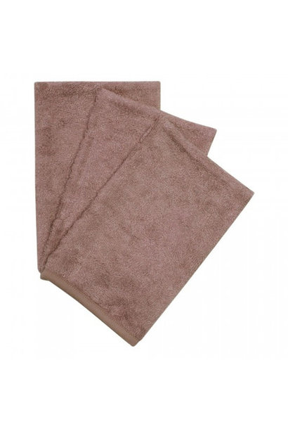 Set van 3 washandjes mellow mauve