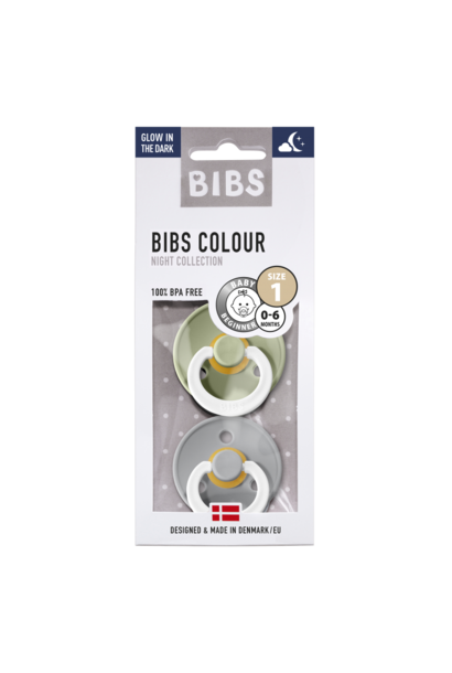BIBS fopspeen 0-6M blister glow in the dark sage/cloud