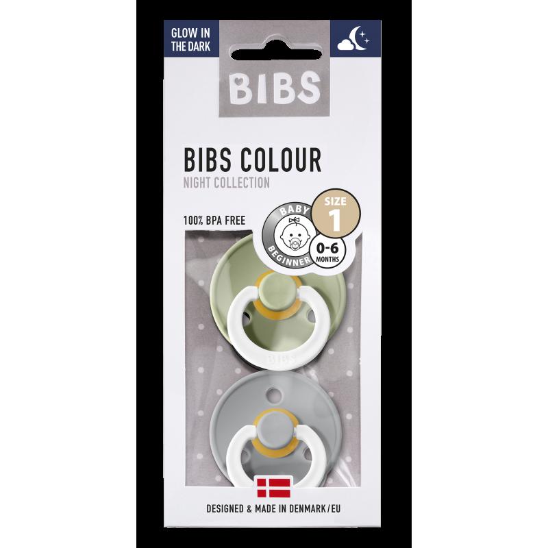 BIBS fopspeen 0-6M blister glow in the dark sage/cloud-1