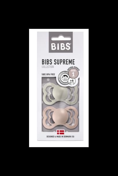 BIBS fopspeen 0-6M blister supreme sand/blush