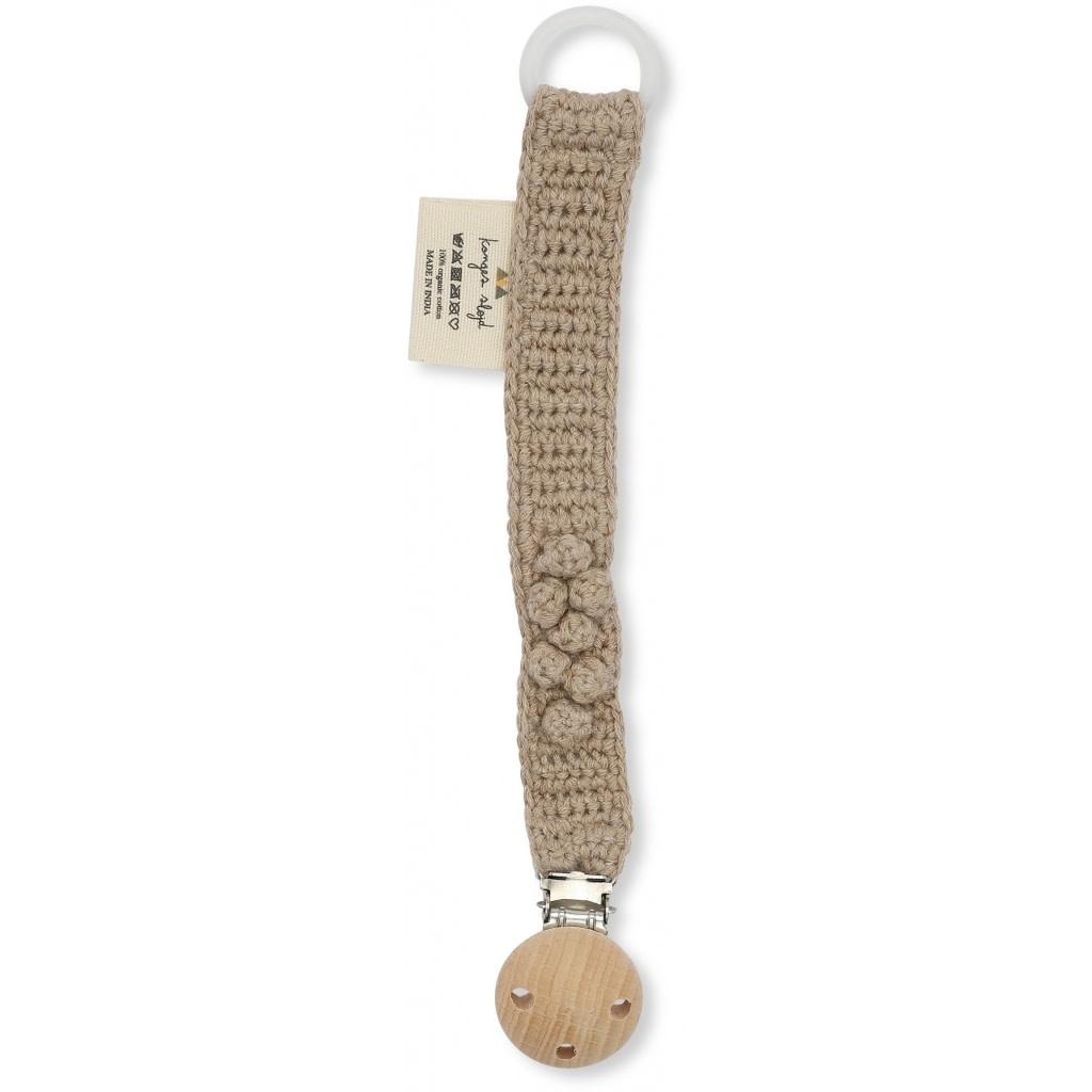 Pacifier strap knit cotton brown melange-1