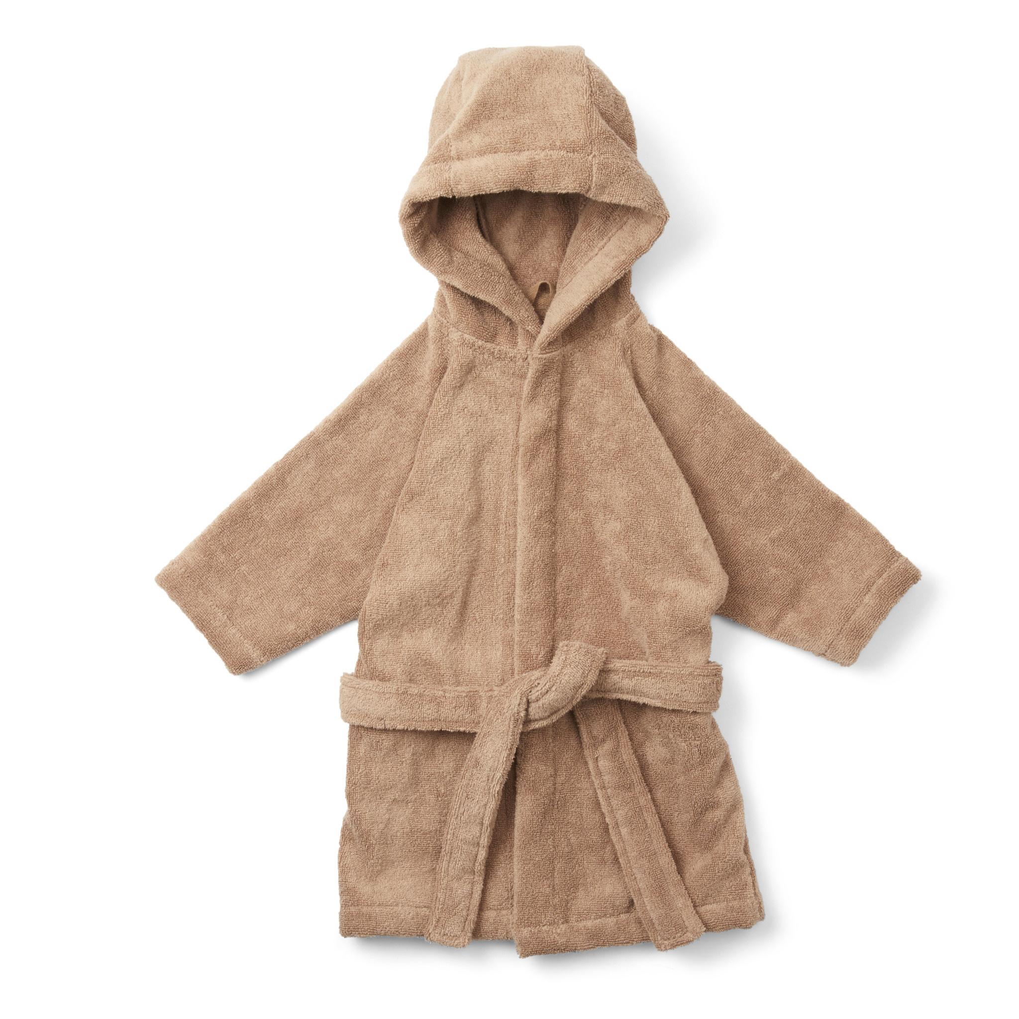 Kids terry bathrobe beige tan-1