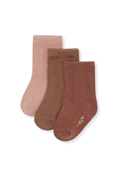 Pointelle socks mocca, rose blush, choco bean