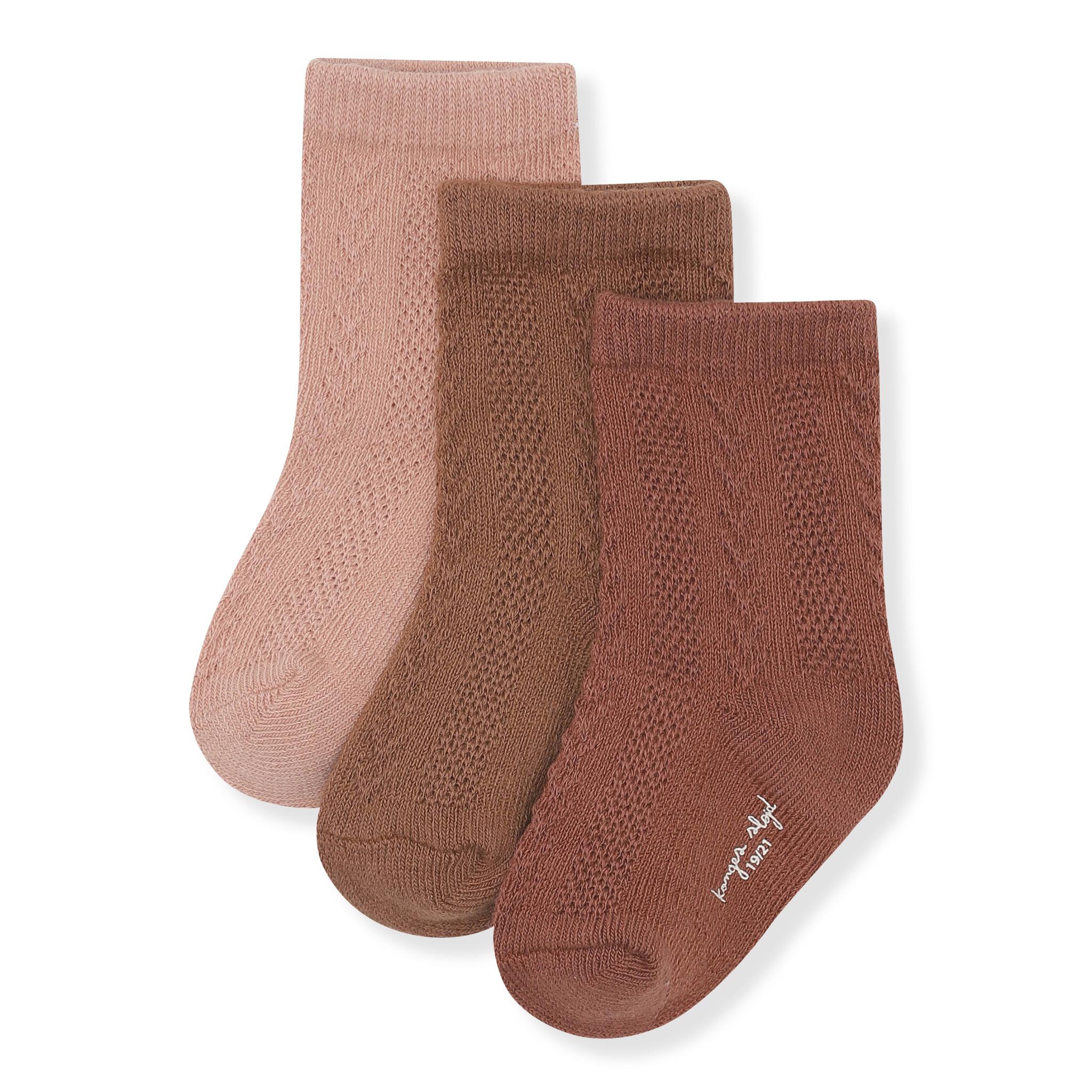 Pointelle socks mocca, rose blush, choco bean-1