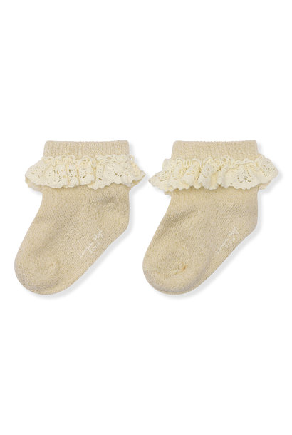 Lace lurex socks creme