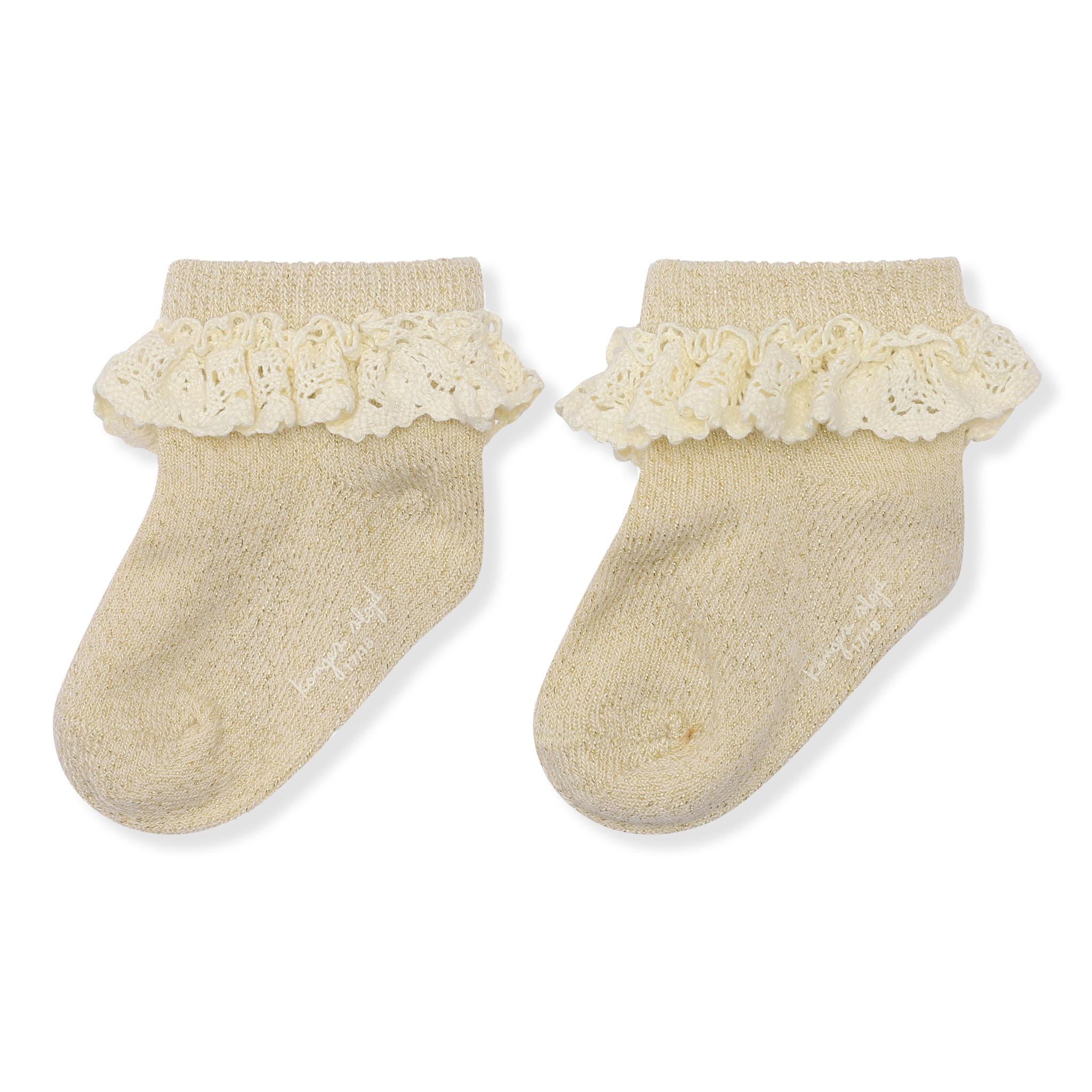 Lace lurex socks creme-1