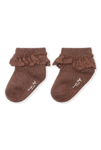 Lace lurex socks mocca