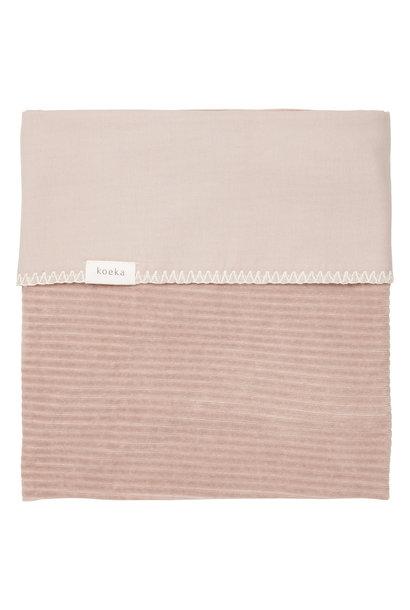 Ledikantdeken flannel vik grey pink