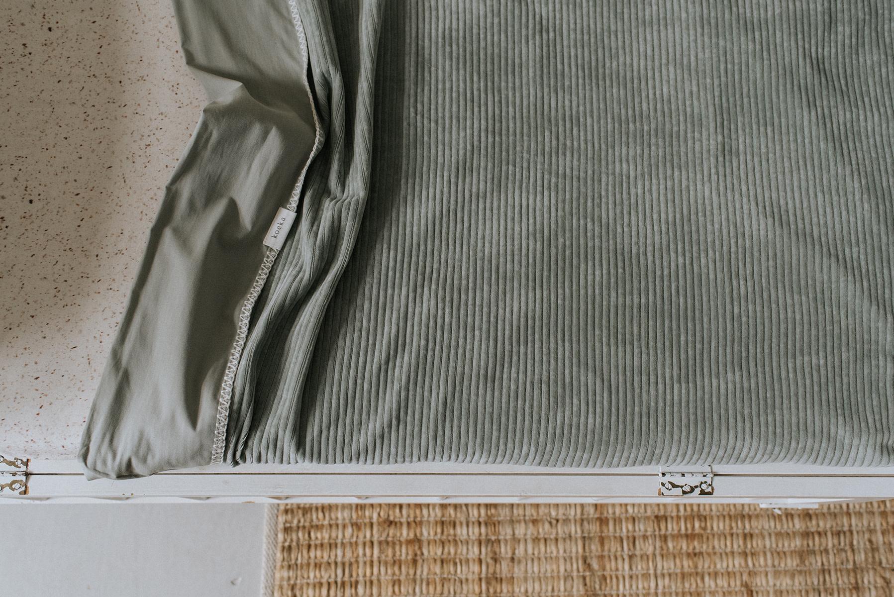 Ledikantdeken flannel vik shadow green-3